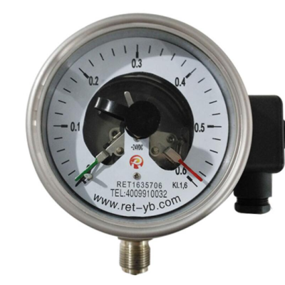 RET/瑞尔特 不锈钢耐震电接点压力表 YXCN-100HZ/轴向不带边/全不锈钢 /M20/1.6级 1个